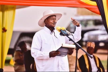 Museveni delivers a speech at a wealth creation event